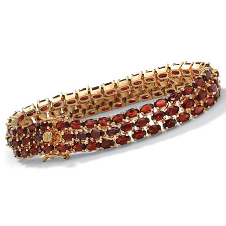 27.50 TCW Oval Cut Genuine Garnet 14k Yellow Gold-Plated Triple-Row Tennis Bracelet 8 1/2
