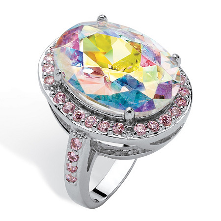 13.57 TCW Oval-Cut Aurora Borealis Cubic Zirconia Pink CZ Accent Silvertone Ring at PalmBeach Jewelry