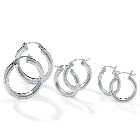 "Three-Pair Set of Hoop Earrings in Silvertone (1"", 3/4"",1/2"") at PalmBeach Jewelry"