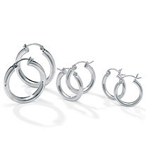 Three-Pair Set of Hoop Earrings in Silvertone