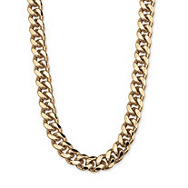 "Men's Curb-Link Chain in Yellow Gold Tone 30"" (10.5mm)"