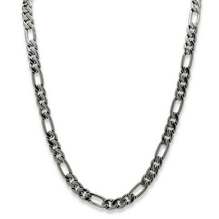 "Men's Figaro-Link Chain Necklace Black Rhodium-Plated 30"" (10.5mm) at PalmBeach Jewelry"