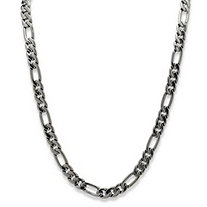 SETA JEWELRY Men's Figaro-Link Chain Necklace Black Rhodium-Plated 30
