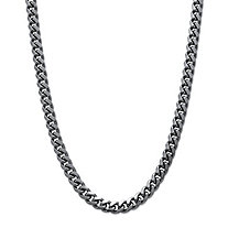 SETA JEWELRY Men's Curb-Link Chain Necklace Black Ruthenium-Plated 24