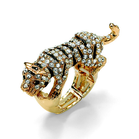 Black and White Crystal Tiger Stretch Ring in Yellow Gold Tone at PalmBeach Jewelry