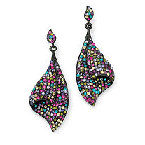 Multicolor Crystal Black Rhodium-Plated Fan Drop Earrings