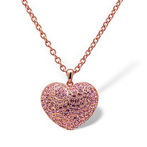 Pink Crystal Puffed Heart-Shaped Pendant Necklace Rose Gold-Plated 28