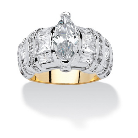 4.10 TCW Marquise-Cut and Multi-Cut Cubic Zirconia 14k Gold-Plated Ring at PalmBeach Jewelry