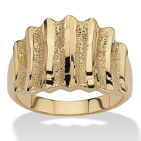 14k Yellow Gold-Plated Textured Concave Ring at PalmBeach Jewelry