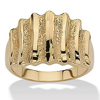 14k Yellow Gold-Plated Textured Concave Ring