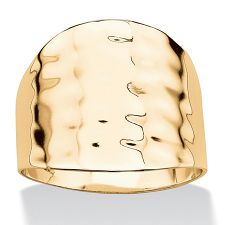 14k Yellow Gold-Plated Hammered Cigar Band Ring at PalmBeach Jewelry