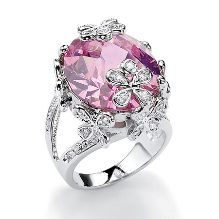 21.42 TCW Oval-Cut Pink Cubic Zirconia Butterfly and Flower Ring in Silvertone at PalmBeach Jewelry