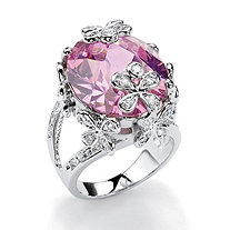 21.42 TCW Oval-Cut Pink Cubic Zirconia Butterfly and Flower Ring in Silvertone