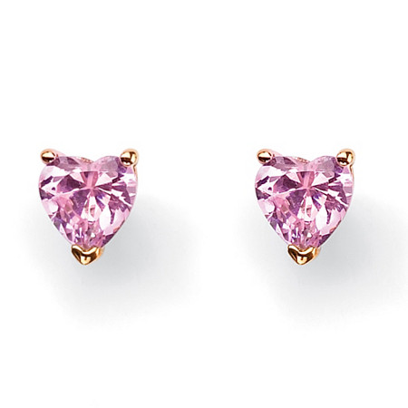 3.42 TCW Heart-Shaped Pink Cubic Zirconia 18k Yellow Gold-Plated Stud Earrings at PalmBeach Jewelry