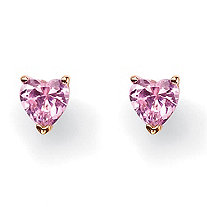 3.42 TCW Heart-Shaped Pink Cubic Zirconia 18k Yellow Gold-Plated Stud Earrings
