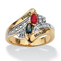 Personalized Simulated Birthstone Couple's Ring in 18k Gold over Sterling Silver