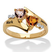 Heart-Shaped Simulated Birthstone Personalized Couple's Ring in 18k Gold over Sterling Silver