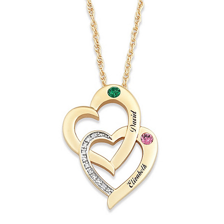 "Diamond Accent ""Two Hearts - One Soul"" Personalized Simulated Birthstone Couples Necklace 14k Gold-Plated at PalmBeach Jewelry"
