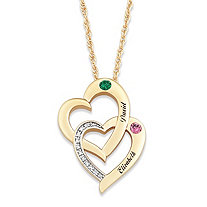 "Diamond Accent ""Two Hearts - One Soul"" Personalized Simulated Birthstone Couples Necklace 14k Gold-Plated"