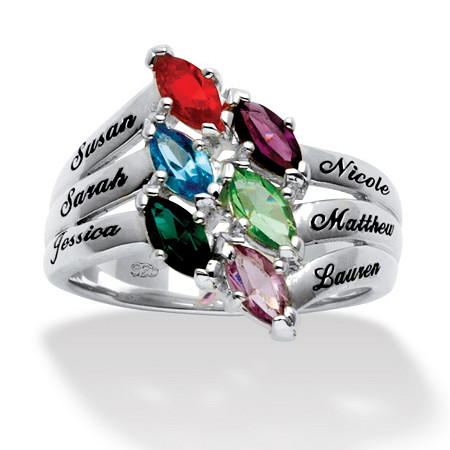 Marquise-Cut Birthstone Sterling Silver Personalized Family Ring at PalmBeach Jewelry