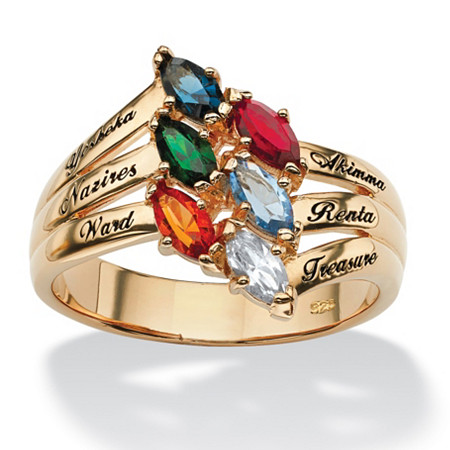 Marquise-Cut Personalized Simulated Birthstone Family Ring in 18k Gold over Sterling Silver at PalmBeach Jewelry