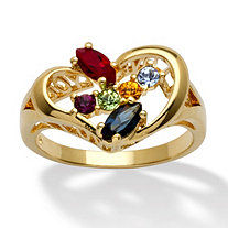 Marquise-Cut Birthstone 14k Yellow Gold-Plated Heart-Shaped Personalized Family Ring