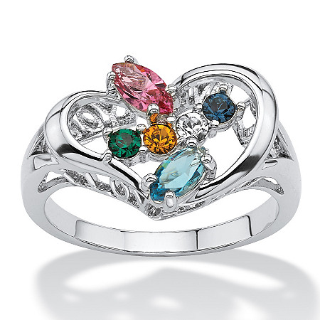 Marquise-Cut Birthstone Heart-Shaped I Love You Family Ring in Silvertone at PalmBeach Jewelry