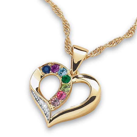 "Family Birthstone and Diamond Accent Heart Pendant 14k Gold-Plated 20"" at PalmBeach Jewelry"
