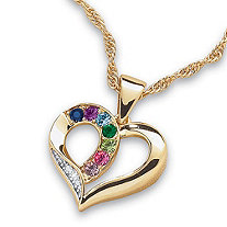 Family Simulated Birthstone and Diamond Accent Heart Pendant 14k Gold-Plated 20""