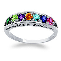 "Simulated Birthstone ""I Love You"" Ring in Sterling Silver"