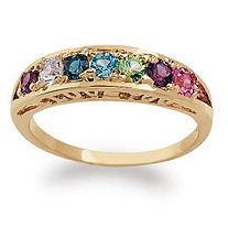 Round Simulated Birthstone I Love You Ring in 18k Gold over Sterling Silver