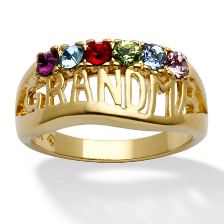 "Round Birthstone Personalized ""Grandma"" Family Ring in 14k Yellow Gold-Plated at PalmBeach Jewelry"