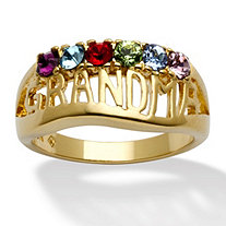 "Round Birthstone Personalized ""Grandma"" Family Ring in 14k Yellow Gold-Plated"