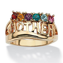 "Round Simulated Birthstone ""Mother"" Ring 14k Gold-Plated"