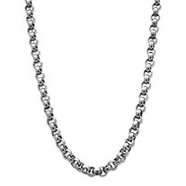 "Men's Stainless Steel Rolo-Link Chain Necklace 24"" (9mm)"