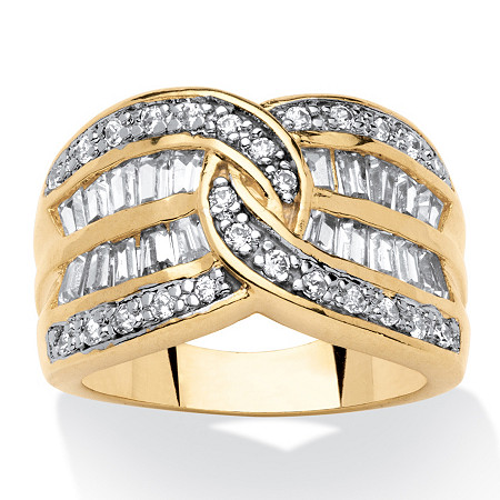 1.34 TCW Interlocking Round and Baguette Cubic Zirconia Channel Ring 14k Gold-Plated at PalmBeach Jewelry
