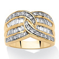 1.34 TCW Interlocking Round and Baguette Cubic Zirconia Channel Ring 14k Gold-Plated