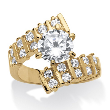 2.66 TCW Round Cubic Zirconia 14k Yellow Gold-Plated Bypass Ring at PalmBeach Jewelry