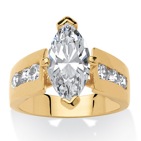 3.02 TCW Marquise-Cut Cubic Zirconia 18k Yellow Gold-Plated Ring at PalmBeach Jewelry