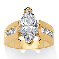 3.02 TCW Marquise-Cut Cubic Zirconia 18k Yellow Gold-Plated Ring