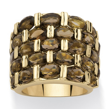 15.07 TCW Round Genuine Smoky Quartz 14k Yellow Gold-Plated Five-Row Ring at PalmBeach Jewelry