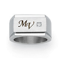 Men's Round Cubic Zirconia Personalized I.D. Block Initial Ring in Stainless Steel