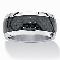 SETA JEWELRY Men's Black Checkerboard Motif Band in Ion-Plated Stainless Steel (11mm) Sizes 7-16