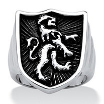 Men's Lion Shield Coat of Arms Ring in Antiqued Stainless Steel