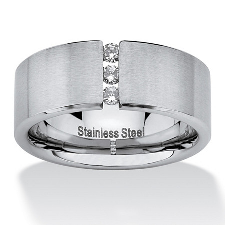 .18 TCW Round Cubic Zirconia Brushed Stainless Steel Wedding Band Sizes 7-16 at PalmBeach Jewelry
