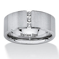 .18 TCW Round Cubic Zirconia Brushed Stainless Steel Wedding Band Sizes 7-16