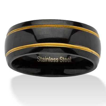 Grooved Wedding Band in Black Ion-Plated Stainless Steel with Golden Accents at PalmBeach Jewelry