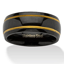 Grooved Wedding Band in Black Ion-Plated Stainless Steel with Golden Accents