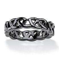 SETA JEWELRY Men's Black ION-Plated Stainless Steel Barbed Wire-Style Wedding Band Sizes 6-16