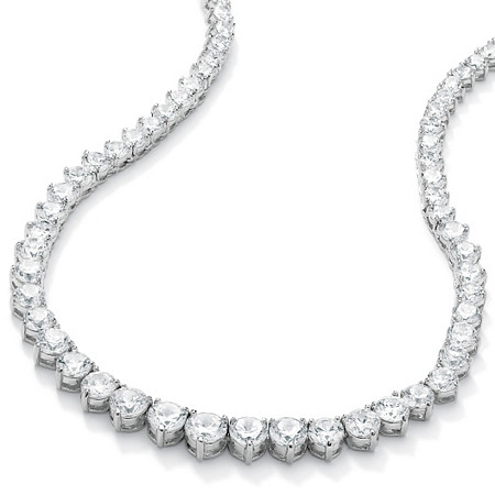 "26.23 TCW Round Cubic Zirconia Silvertone Eternity Necklace 16"" at PalmBeach Jewelry"